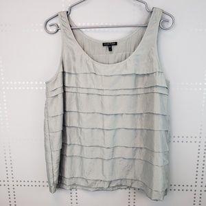 Eileen Fisher   100% silk ruffle rank